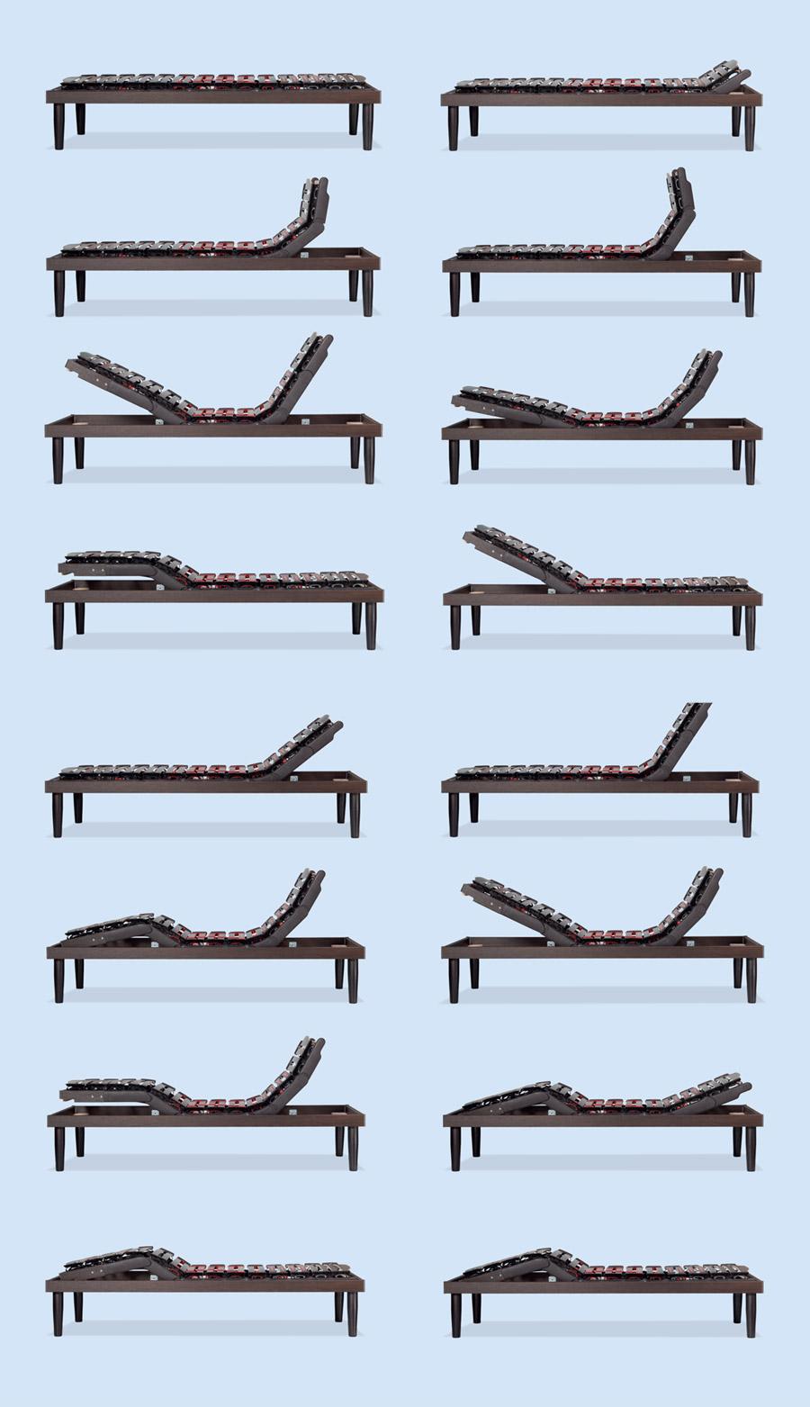 Posizioni possibili con la rete per materasso Ergomovie De Luxe